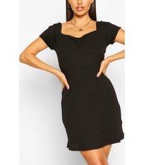 mini-jurk met ribgebreide details, zwart