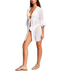 women's river island lace trim beach cover-up, size small - white