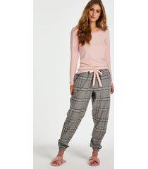 hunkemöller twill check pyjamasbyxor grå