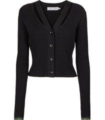 fine gauge rib knit crop cardigan black forest