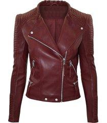 women maroon color leather jacket, women biker stylish zipper fashion jackets