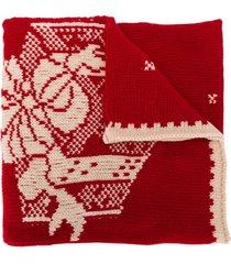etro festive logo-intarsia large scarf - red