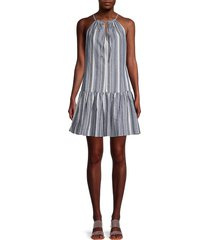 supply & demand women's callisto striped halter dress - denim - size xs