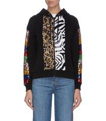 contrast animal print sequin panelled zip hoodie