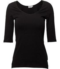 cotton stretch scoop neck top t-shirts & tops short-sleeved svart filippa k