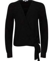 blusa cruzada unicolor color negro, talla 10