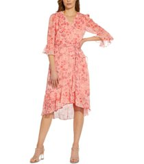 adrianna papell ruffled high-low dress