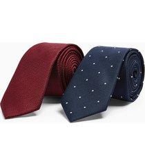 mens burgundy textured tie and navy polka dot tie multipack