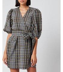 ganni women's seersucker check mini wrap dress - kalamata - eu 40/uk 12