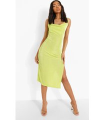 tall strakke midi jurk met waterval hals en zijsplit, lime