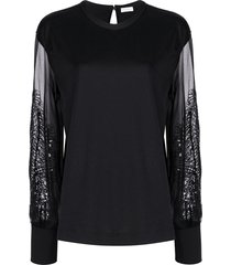 brunello cucinelli beaded leaf sheer-sleeved blouse - black