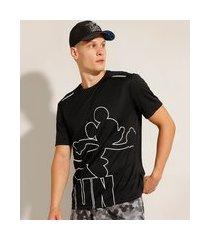 "camiseta esportiva ace mickey run"" com faixa refletiva manga curta gola careca preta"""