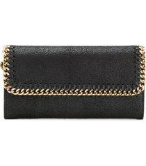 stella mccartney black and golden continental falabella wallet