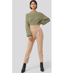 na-kd classic belted suit pants - beige