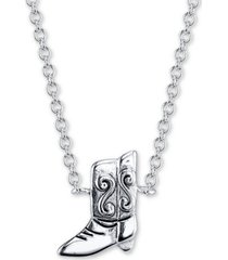 "unwritten cowboy boot pendant necklace in sterling silver, 16"" + 2"" extender"