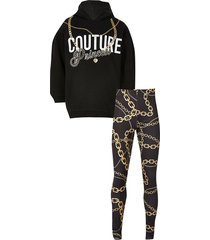 river island girls black 'couture' chain print outfit