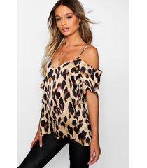 leopard print woven cold shoulder top, camel