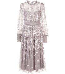 needle & thread floral embroidered midi dress - purple