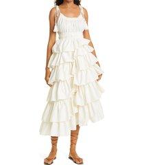 women's ulla johnson estela sleeveless ruffle dress, size 12 - white