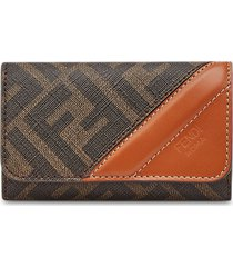 fendi ff logo-print folding key case - brown