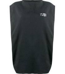 mm6 maison margiela sweatshirt-style oversized tank top - black