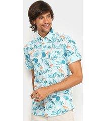 camisa manga curta izod flamingos floral masculina