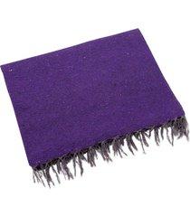 native yoga solid color woven blanket purple cotton