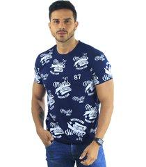 camiseta hombre manga corta slim fit azul marfil denim