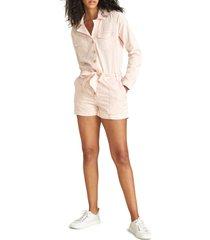women's veronica beard winifred twill romper, size medium - pink
