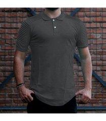 hombresmanga cortaverano botón camisetamúsculo