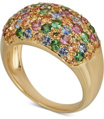 multi-gemstone pave statement ring (2-1/2 ct. t.w.) in 14k gold-plated sterling silver