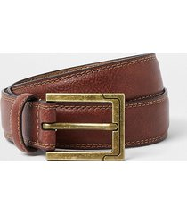 river island mens brown leather gold buckle belt