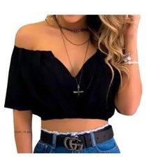 cropped top feminino ciganinha blusa decote v nstore preto