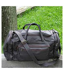 leather travel bag, 'brazil in dark brown' (large) (brazil)
