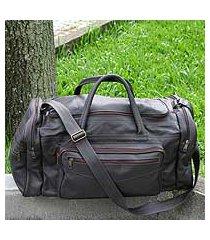 leather travel bag, 'brazil in dark brown' (large) (brazil)