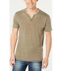 lucky brand men's burnout button notch short sleeve tshirt