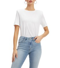 good american strong shoulder tee, size 0 in white at nordstrom