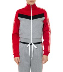 miu miu gray and red track jacket in cotton