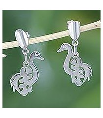 sterling silver dangle earrings, 'new adinkra' (ghana)
