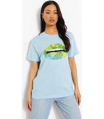 oversized t-shirt met lippen, light blue