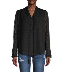 allison new york women's tie-neck diamond-lace sleeve shirt - black - size xs