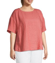 eileen fisher women's plus dropped-shoulder linen top - bright sandstone - size 1x (14-16)
