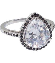 anel manoo manoo rodinado prata gota cravejado cristal