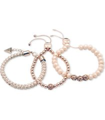 guess rose gold-tone 3-pc. set pave bead & nylon cord bracelets
