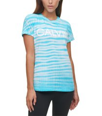 calvin klein performance logo tie-dyed t-shirt