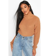 cropped fisherman roll neck sweater, biscuit