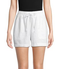 pure navy women's drawstring linen shorts - white - size l