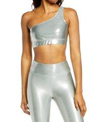 women's heroine sport one shoulder bra, size medium - metallic