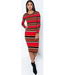 akira listen carefully long sleeve waist tie bodycon midi dress