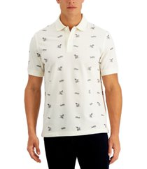club room men's hound dog print performance stretch polo, created for macy's